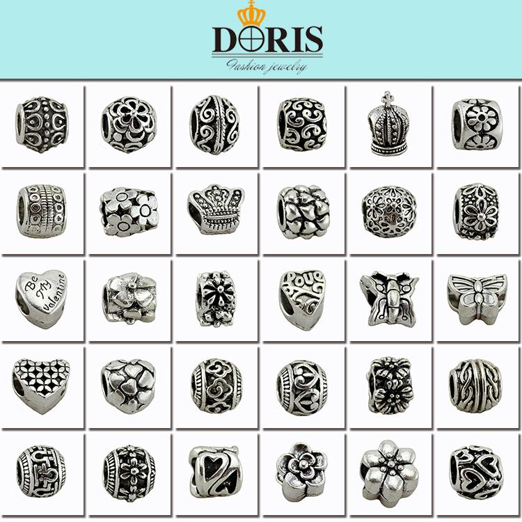 3Mix Style Antique Silver Plated Alloy Big Hole Charm Beads fit pandora bracelet DIY Jewelry - DORIS ACCESSORIES store