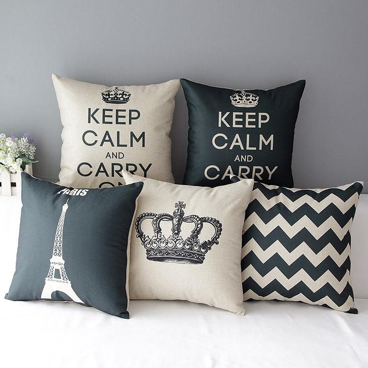 "18""  Nordic Ikea Black White Plain Cotton Linen Cushion Cover Ikea Decorative Throw Pillow Home Sofa Car Chair Pillow Case HD338(China (Mainland))"