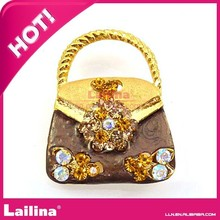 Free shipping Rhinestones Buttons/Metal Bag Shape Button For Lady(China (Mainland))
