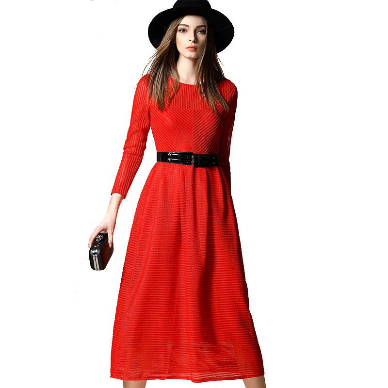 Women Spring Long Stripe Maxi A Line Dress 2016 New Long Sleeve Hollow Out Elegant Dresses Black Red Vestido De Festa 1777