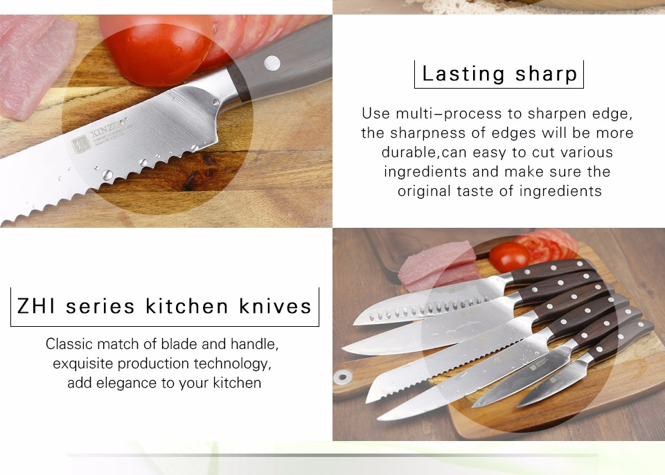 Buy XINZUO 8 inch bread knife Germany steel kitchen knife sharp cake knife Sawtooth pizza knife rosewood kitchen tool free shiping cheap