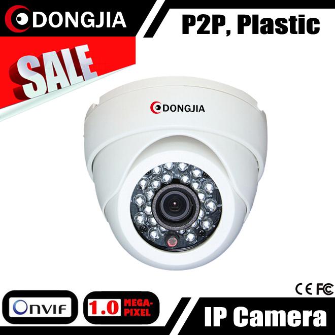 DONGJIA 1280*720P 1MP Plastic Dome IP Camera IR Security ONVIF 2.4 Night Vision IR Cut Filter H.264 MJPEG P2P IP Cam(China (Mainland))