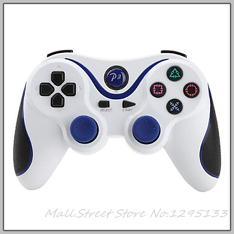 Bluetooth Wireless Joysticks Remote Game Controller Grip for PS3 Console White+ Blue Stripe M.S.000005(China (Mainland))