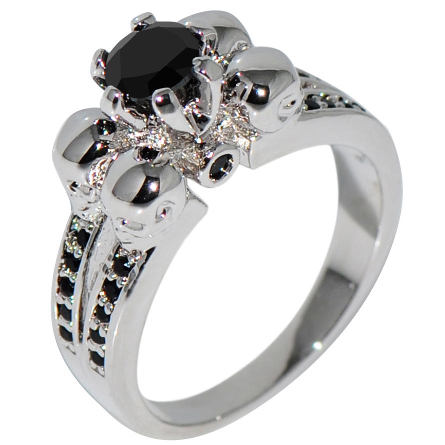 Classic Men Zircon Wedding Engagement Ring Band Skeleton Head Black Sapphire