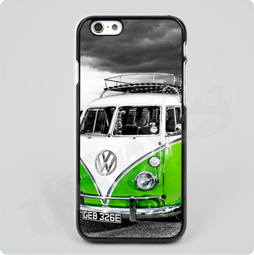 VW Camper Van in Green hard plastic Black Hard Skin mobile phone Cases Cover housing For iPhone 4S 5S 5C 6 6Plus Free shipping(China (Mainland))