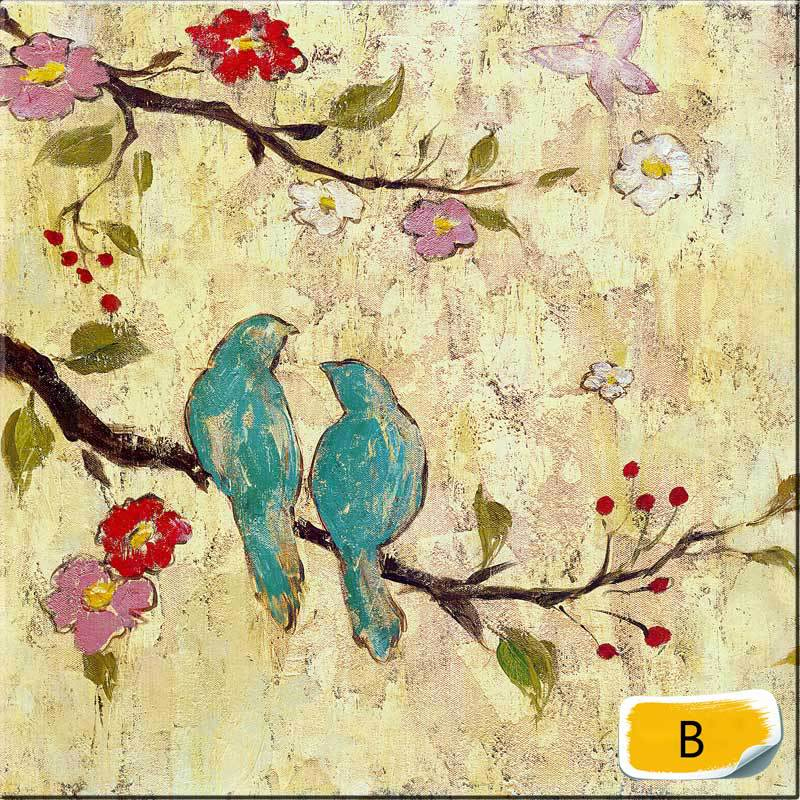 Wall Art Flowers And Birds : Canvas art abstract oil painting birds and flowers