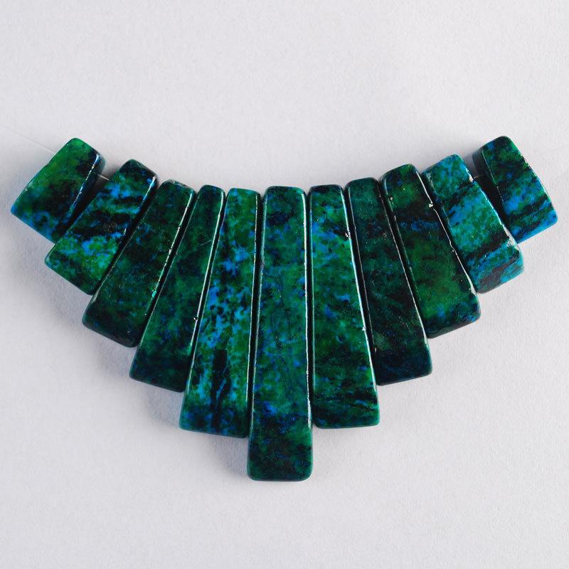Free Shipping 11Pcs(1set) Synthetic Chrysocolla Gemstone Pendant Beads Jewelry Necklace(China (Mainland))