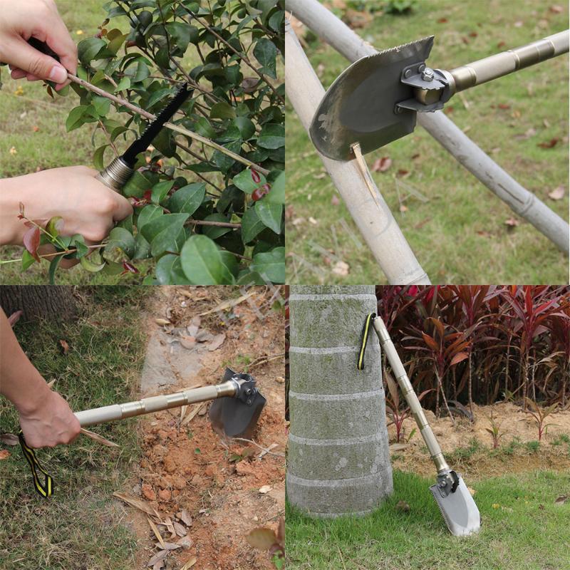 2015 New 8pcs set Multi function Folding Shovel Axe Hoe Hammer Knife Fire Flint Whistle Camping