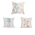 New Design 45cm 45cm Marine Animal Sea Horse Pattern Printed Home Decorative Cotton Linen Cushion Cover
