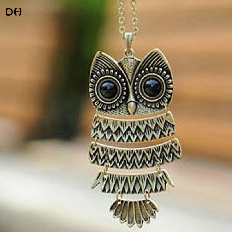 product Min.order is $10 (mix order) Free Shipping Korea Adorn Article Ancient Bronze Owl NecklaceAncient the Owl Sweater Chain N1177