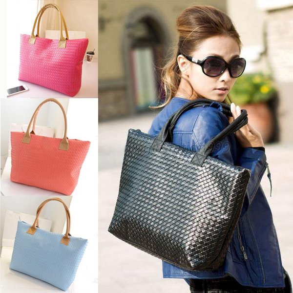 Free Shipping Women Lady Chain Knit Soft Square Casual Clutch PU Leather Handbag Shoulder Bag Black/Blue/Red