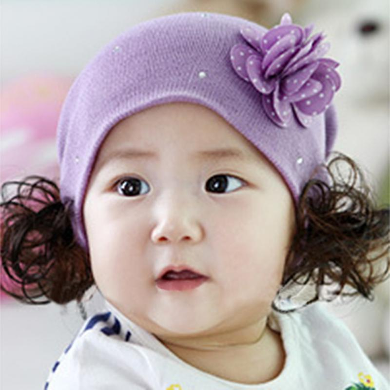 Hot Cute Baby Girl hats Flower Wig Toddler Infant Kids Knit Hat Cap 3-36 Months Purple(China (Mainland))
