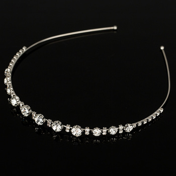 Fashion Women sliver plated Chunky Chain Head Band Piece Crystal Hair  Headpiece Party Wear Accessory