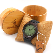 Mens Luxury Black Wood Watch With Bamboo Gift Box Japan Movement 2035 Quartz Wristwatch for Man as Gifts