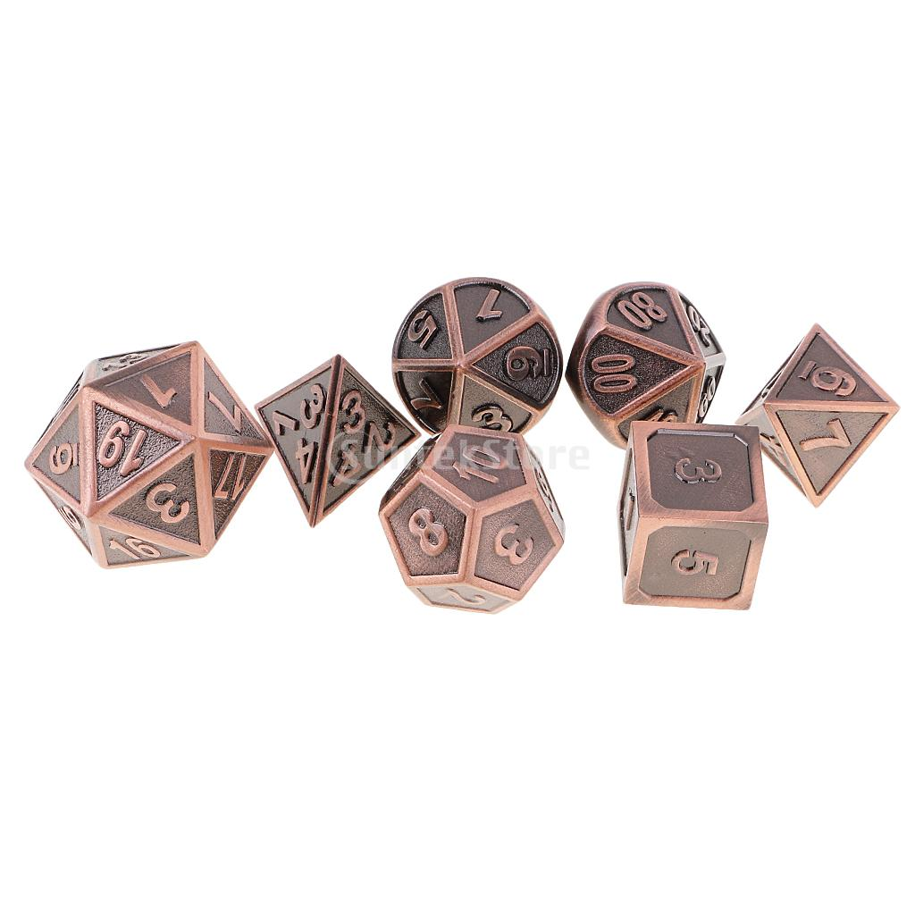 7 pieces Metal Polyhedral Dice for Dungeons & Dragons Dice Table Games RPG MTG+Dice Cup #4