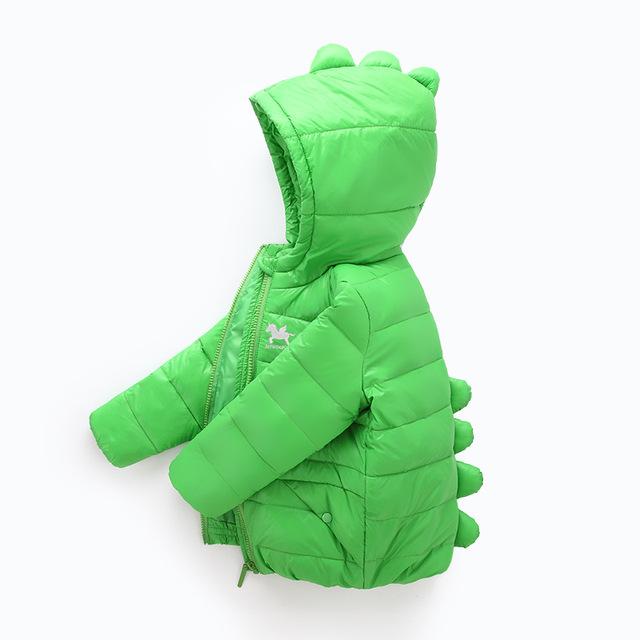 Динозавр зима пуховик для девочек мальчик 8 цвета 2-8 лет детская пуховик для мальчика Зимнее пальто для мальчиков одежда