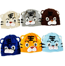1pcs Baby Girls Boys Kids Toddlers Crochet Knit Cute Tiger Hat Cap Beanies Winter Warm Kids Hats Drop Shipping(China (Mainland))