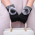 Fashion Women High Quality Winter Warm Hair ball Touch Screen Mittens Lady Outdoor Full Finger Soft