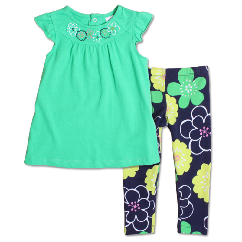 Brand summer girls sets 100% cotton toddler girl clothing fashion baby suit short top + flower pants children clothese - Sindy Wong's store