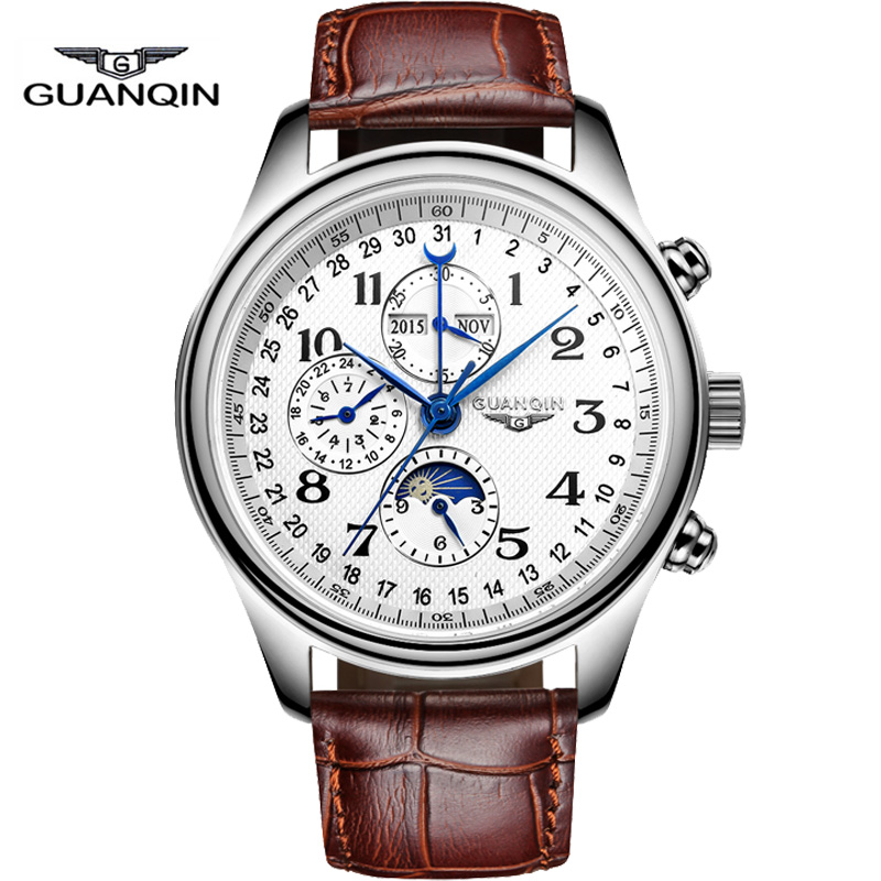 Watches men luxury brand GUANQIN automatic mechanical watch waterproof perpetual calendar Leather sport clock relogio masculino<br><br>Aliexpress