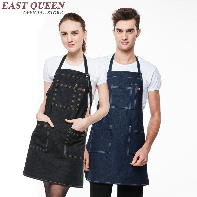 Women men denim shop apron ladies male denim work aprons new arrival aprons for work sexy denim apron AA448(China (Mainland))