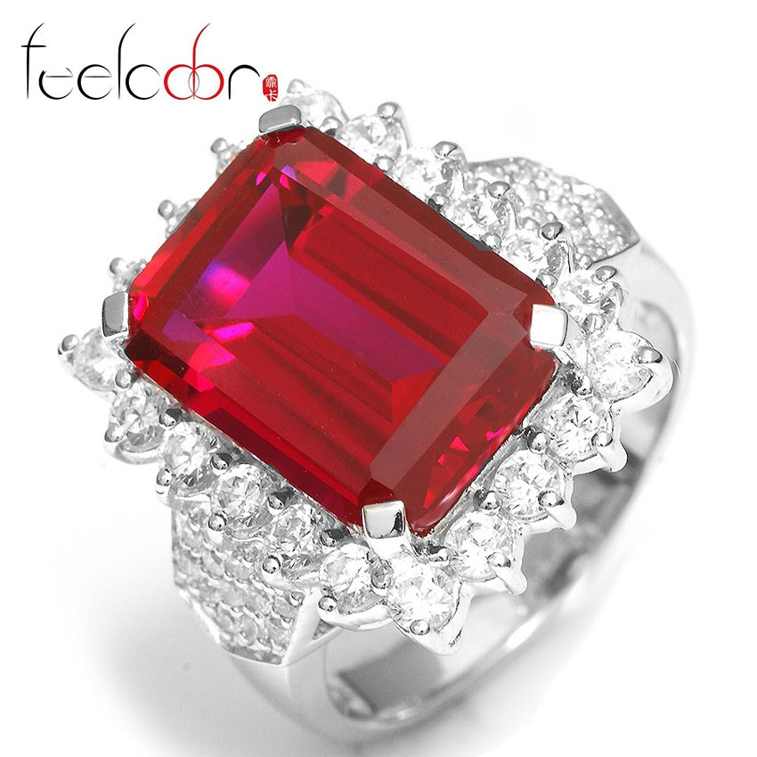2014 New Luxury Dazzling 11ct High Quality Pigeon Blood Ruby Ring Wedding Accessories Fashion Set 925 Solid Sterling Silver