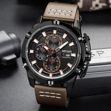 MEGIR montres de sport créatives hommes haut tendance marque bracelet en cuir étanche montres à Quartz horloge mâle Relogio Masculino(China)