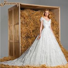 Zuhair Murad Modest Ivory Lace V Neck Short Sleeve Court Train Wedding Bridal Dresses