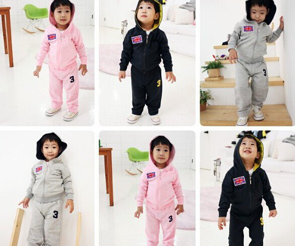 2015 spring kids clothes boys and girls Solid zipper coat +trousers cotton children suits sportswear sports suit child(China (Mainland))