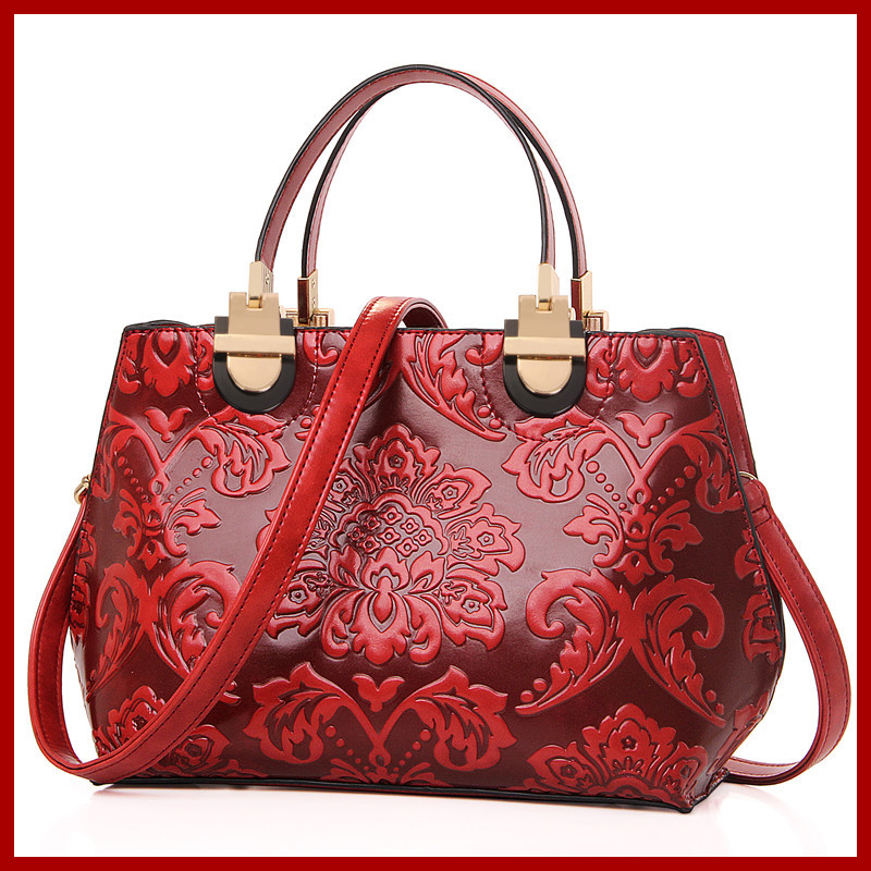 Classic Chinese Style female bag fashion embossed women's handbag High quality genuine leather Totes shoulder bag Messenger bag(China (Mainland))