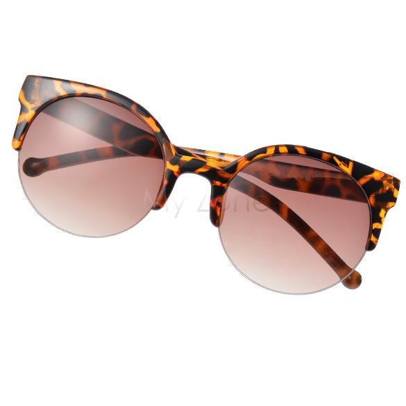 Hot Promotion!! Fashion Retro Designer Super Round Circle Glasses Cat Eye Semi-Rimless Sunglasses Glasses Goggles b3 5635(China (Mainland))