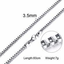 Silverly Hộp Vuông Liên Kết và Thỏi Dây Chuyền Vòng Cổ Nam Vòng Cổ Choker Đính với 21-24 Inch (2.1 mm-Rộng 5mm)(China)