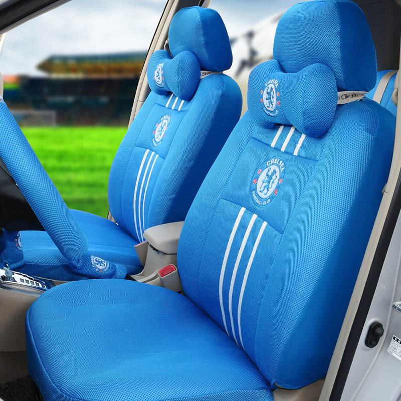 classic car seat cover set ice silk 18pcs blue football car seat covers car steering wheel cover. Black Bedroom Furniture Sets. Home Design Ideas