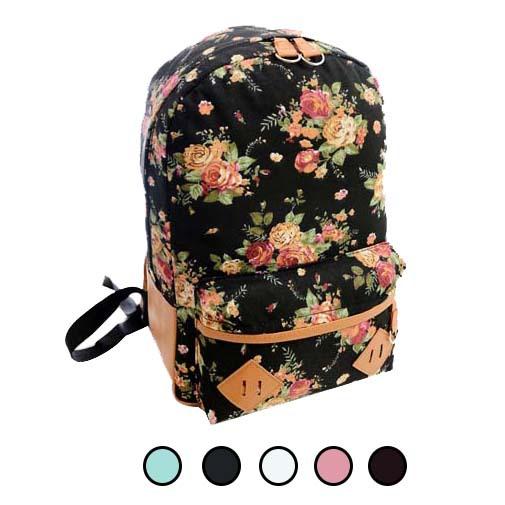 School Bags For Teenagers Students Backpack Travel Oversize Flower Printed Canvas Book Satchel Shoulder Bag School Rucksack(China (Mainland))