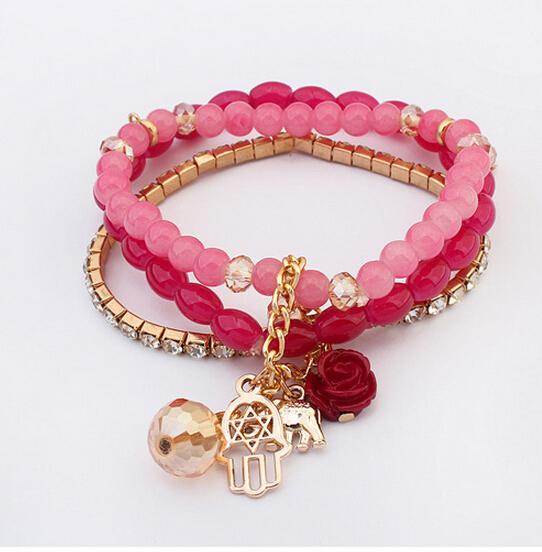 New Arrival Bohemian Crystal Beads Multipack Bracelets Set Fatima Hand Elephants Rose Flower Pendants Bangle(China (Mainland))