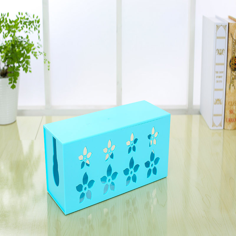 SMILE MARKET Beautiful  Design Medium Size Carved Cable Wire Storage Box(Color:White,Green,Blue,Pink)(China (Mainland))