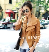 hot sale PU leather coat double turn-down collar oblique zipper motorcycle short design women's small leather,R93(China (Mainland))
