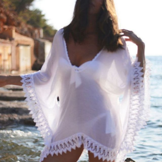 Уютные женщины v-образным вырезом широкий пляж платья бикини Cover Up плавать-порте ванна костюм купальники новый