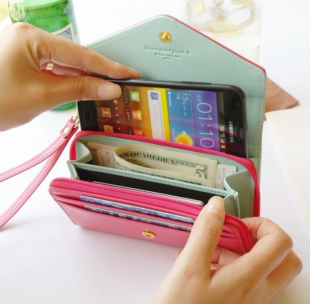Wallet Case for Women Girl PU Leather Pouch Cover for iPhone 4S 5S 5C 6 Lovely Luxury Case Capa for Samsung Galaxy S2 S3 S4 S5(China (Mainland))