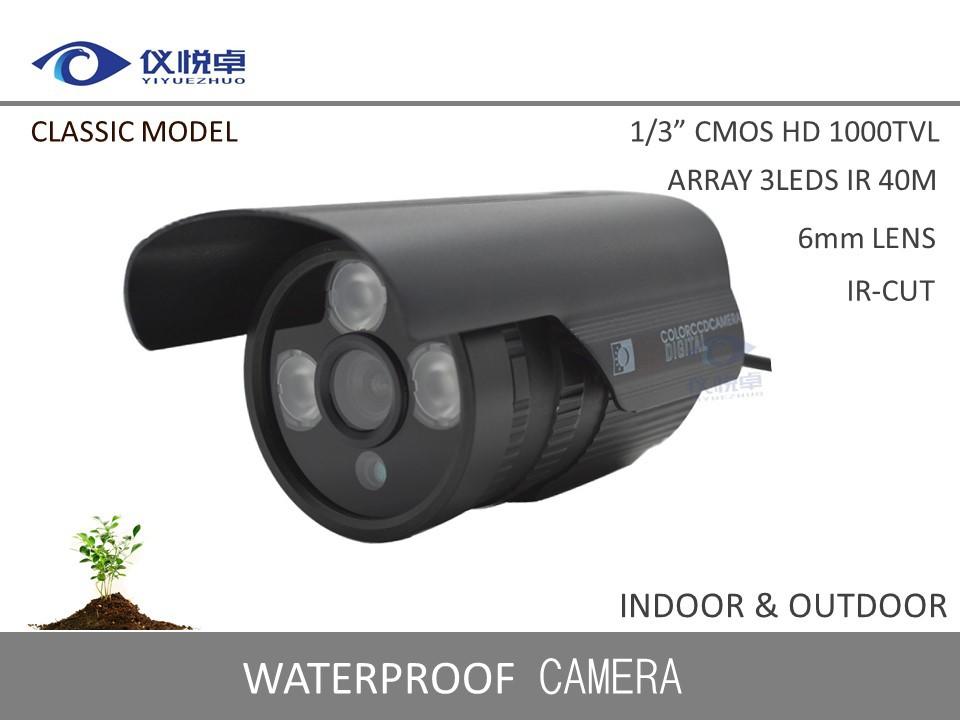 "New 1/3"" CMOS 1000TVL Security CCTV Camera Waterproof Home Alarm ICR Infrared Night Vision Array 3Led IR 30m Camera DVR WZ92-10(China (Mainland))"