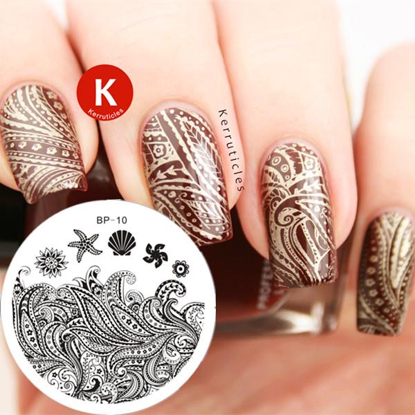 1PC Nail Stamping Plates Starfish & Shell Theme Nail Art Stamp Template Image Plate BP10 # 16857(China (Mainland))