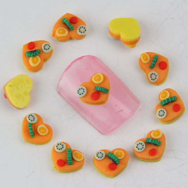 2016 New Design Cute Fimo Nail Charm Orange Cake With Fruit 3D Manicure Tools Nail Embellishment Summer Nail Jewelry Stud WY96(China (Mainland))