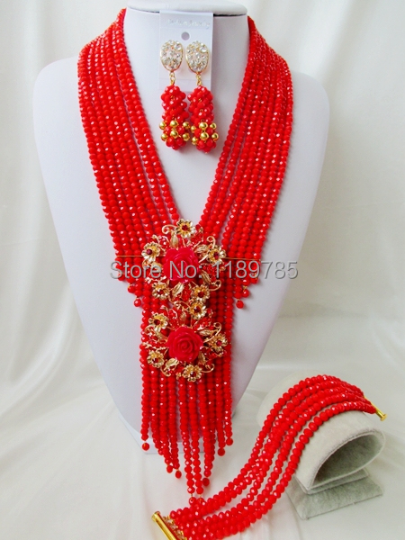 Free Shipping  African Wedding Jewelry Set Costume Nigerian   Crystal Beads Jewelry Set Wholesale NEW A-9636<br><br>Aliexpress