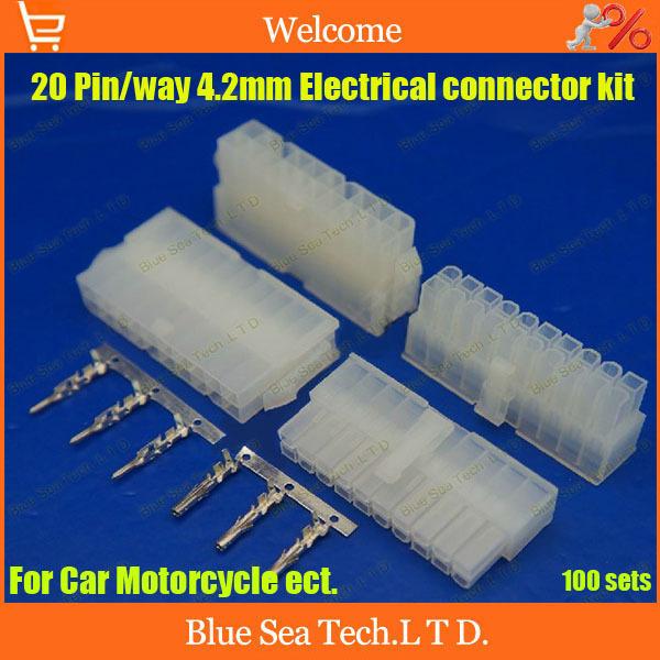 100sets=4200pcs 20 пин/способ 4,2 мм 5557 электросхема клемма электрического разъема комплект (корпус+стержень) для автомобиля/лодка эст