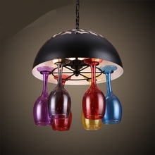Buy American creative personality Multicolored cups retro wind Iron Bar Cafe Restaurant color bottle glass Pendant Lights ZA for $255.00 in AliExpress store