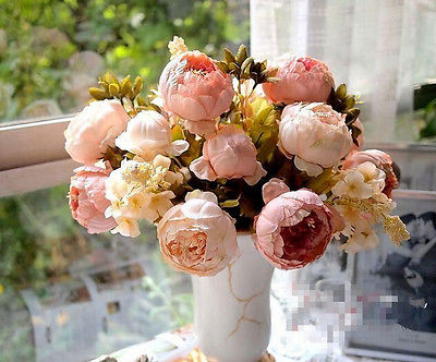 Pretty Charming 1 Bouquet Artificial Peony Flowers Festival Party Decorative Flower Wedding Christmas Home Decal Flower(China (Mainland))