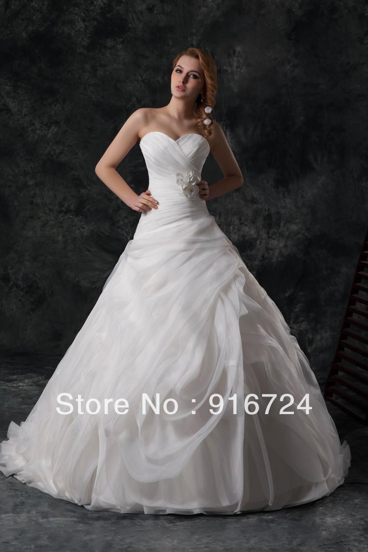 Великолепная платье-линии длиной до пола свадебное платье без бретелек полный слоя вереницы и переливающимися складки с цветами