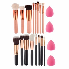 Buy 8Pc Makeup Brush Set EyeShadow Powder Blush Foundation Brush +2pc Sponge Puff pinceaux Pincel Maquiagem pinceis brochas for $4.66 in AliExpress store