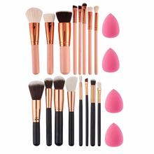 Buy 8Pc Makeup Brush Set EyeShadow Powder Blush Foundation Brush +2pc Sponge Puff pinceaux Pincel Maquiagem pinceis brochas for $4.66 in AliExpress store