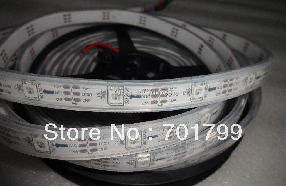 5m DC5V IP65 WS2812B led digital strip,30pcs WS2812B/M with 30pixels;36W;white pcb;IP68;epoxy resin filled in the tube(China (Mainland))